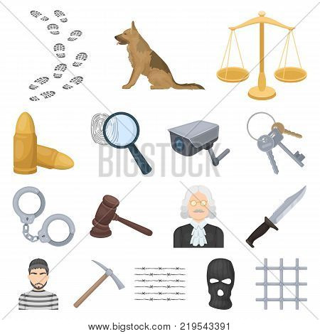 Prison and the criminalcartoon icons in set collection for design.Prison and Attributes vector symbol stock  illustration.
