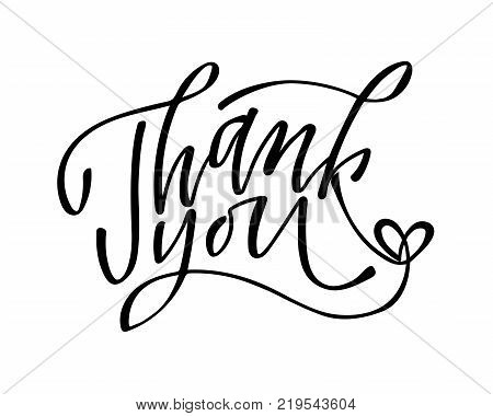 Thank you - hand lettering inscription to holiday design, black and white ink calligraphy, vector illustration