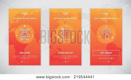 Onboarding design concept for a fast food delivery service. Modern vector outline mobile app design set of a fast food delivery services. Onboarding screens for a fast food delivery order online