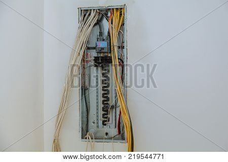 electrical box contains many terminals, relays, wires and switches. installing components in electrical shield