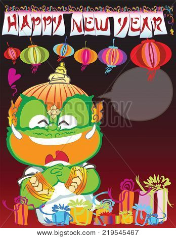 Thai giant Chinese new year advertisement poster or card he very be happy cartoon acting character design has hanging flag and paper lamp and gift box.