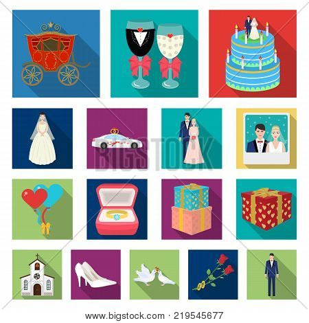 Wedding and Attributes flat icons in set collection for design. Newlyweds and Accessories vector symbol stock  illustration.
