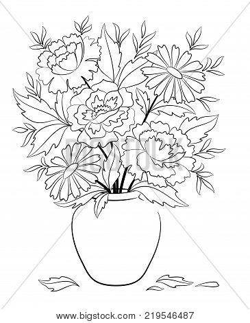 Bouquet Peonies and Chamomile Flowers and Leaves in Vase Black Contours Isolated on White Background. Vector