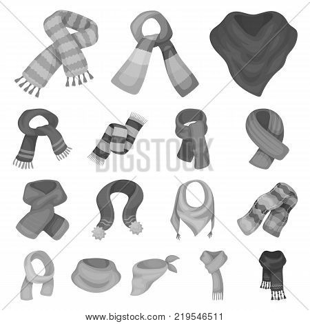 Scarf and Shawl monochrome icons in set collection for design.Clothes and Accessory vector symbol stock illustration.