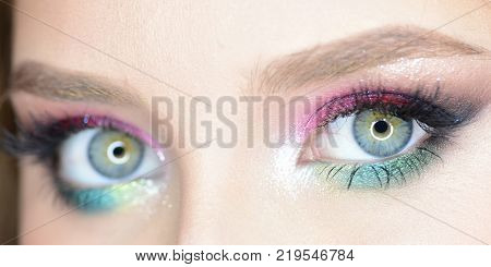 Girl With Colourful Makeup And Beautiful Eyebrows, Close Up
