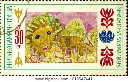 Ukraine - circa 2017: A postage stamp printed in Bulgaria shows children's drawing Lion. Series: International Children's Assembly Banner of Peace. Circa 1982