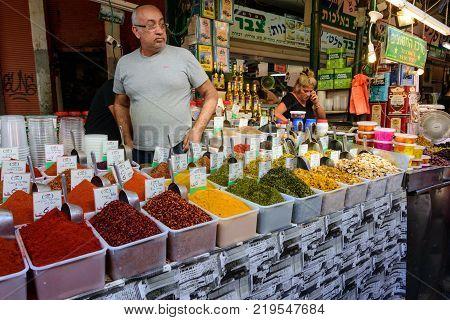 Carmel Market In Tel Aviv, Israel On The Eve Of Sukkot