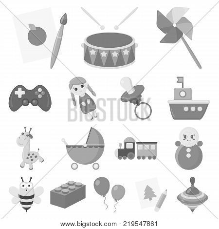 Children's toy monochrome icons in set collection for design. Game and bauble vector symbol stock  illustration.