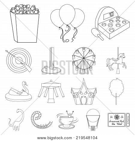 Amusement park outline icons in set collection for design. Equipment and attractions vector symbol stock  illustration.