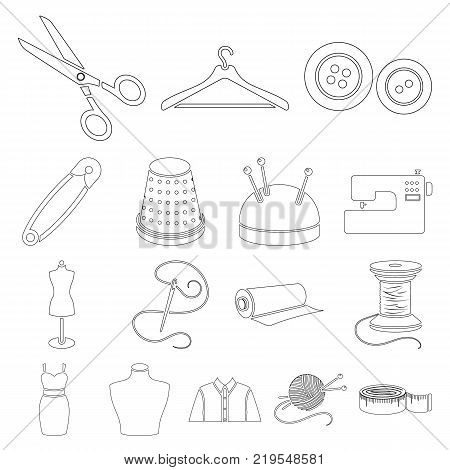 Atelier and sewing outline icons in set collection for design. Equipment and tools for sewing vector symbol stock  illustration.