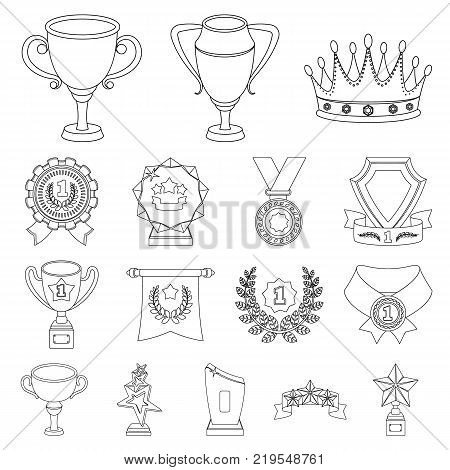 Awards and trophies outline icons in set collection for design.Reward and achievement vector symbol stock  illustration.