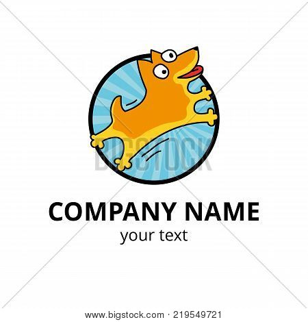 Dog logo 2018 yellow. Happy new year, chinese logotype. Holiday, zodiac label, invitation, greeting card. Happy dogs, Animal personage for Motion design. Sign for veterinarian, company web