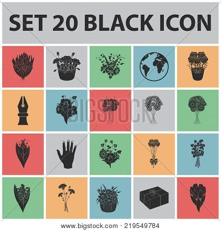 A bouquet of fresh flowers black icons in set collection for design. Various bouquets vector symbol stock illustration.