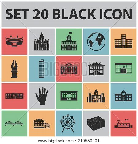 Building repair black icons in set collection for design.Building material and tools vector symbol stock  illustration.