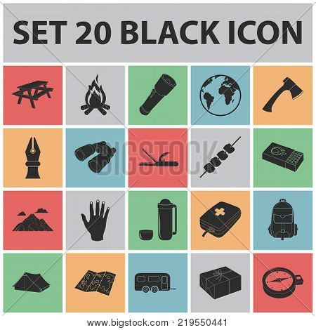 Rest in the camping black icons in set collection for design. Camping and equipment vector symbol stock  illustration.