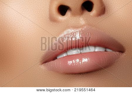 Moisturizing Lip Balm, Lipstick. Close-up Beautiful Sexy Wet Lips. Full Lips With Gloss Lip Makeup.