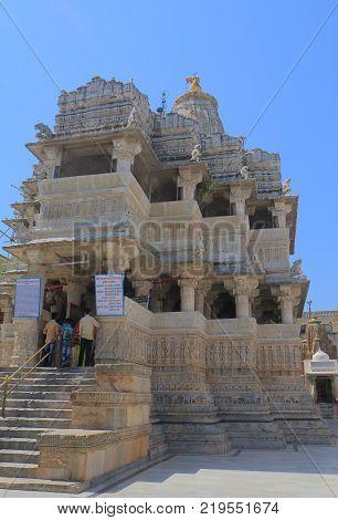 Udaipur India - October 15, 2017: Unidentified People Visit Jagdish Temple In Udaipur. Jagdish Templ