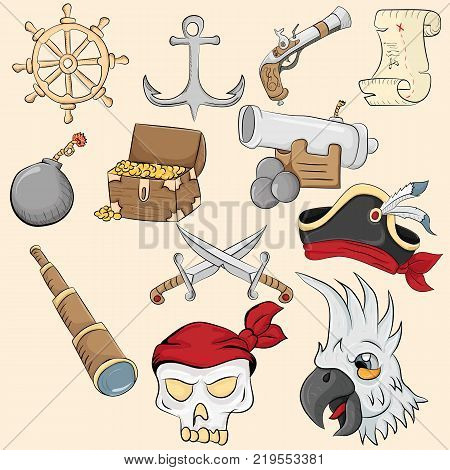 vector illustration of symbols and objects associated with piracy
