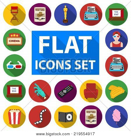 Films and cinema flat icons in set collection for design.Movies and Attributes vector symbol stock  illustration.