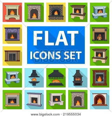 Different kinds of fireplaces flat icons in set collection for design.Fireplaces construction vector symbol stock  illustration.