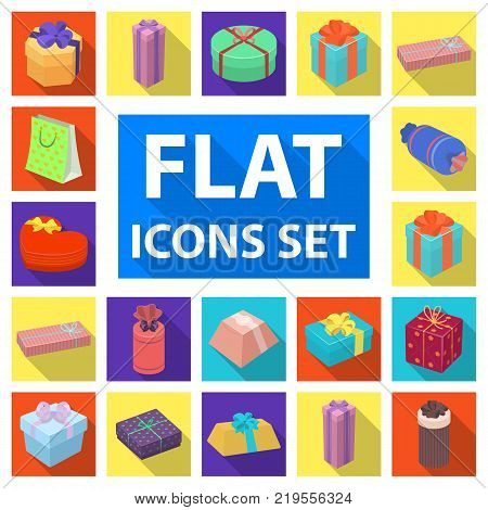 Gift and packing flat icons in set collection for design.Colorful packing vector symbol stock  illustration.