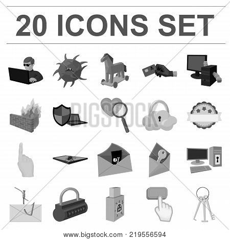 Hacker and hacking monochrome icons in set collection for design. Hacker and equipment vector symbol stock  illustration.