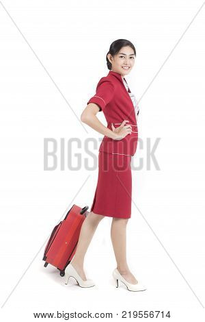 Portrait Of Asian Air Hostess Posing With White Background, Woman Stand And Smile At Isolated On Whi