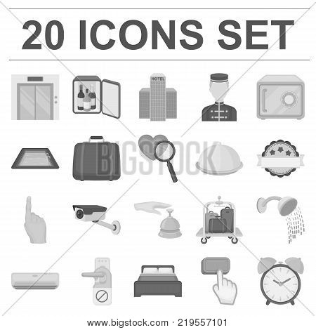 Hotel and equipment monochrome icons in set collection for design. Hotel and comfort vector symbol stock  illustration.