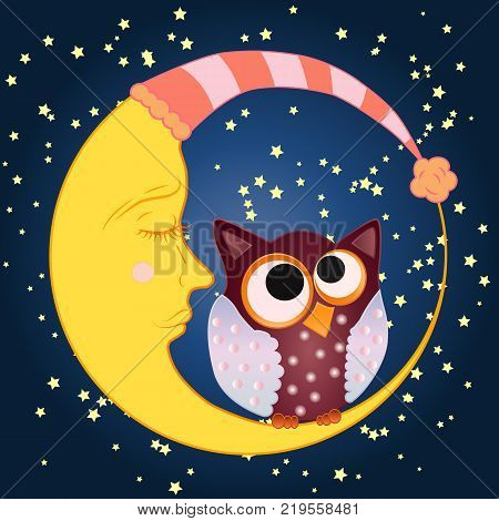 A sweet cartoon owl sits on a drowsy crescent moon in a sleeping cap against the background of a night sky with stars...