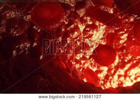 3D Illustration red blood cells in vein. Red blood cells flow in vessel. medical human health-care concept