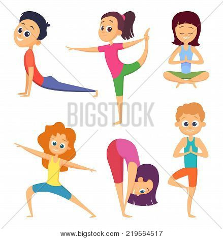 Yoga for kids. Happy childrens make different exercises. Cartoon characters set. Yoga exercise for kids, asana and meditation pose illustration