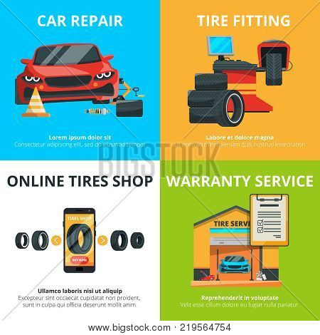 Concept illustrations of auto tire service. Garage for mechanics. Automobile shop banner set. Auto repair and diagnostic vector