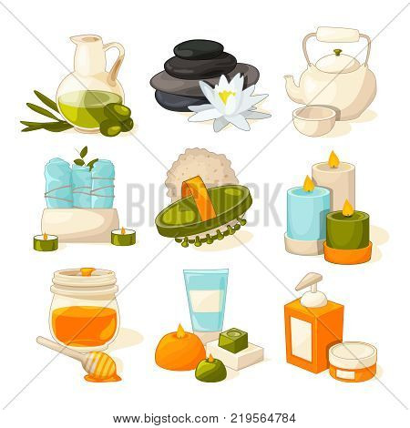 Vector symbols of massage or spa salon. Therapy and zen pictures. Therapy spa and beauty relax illustration