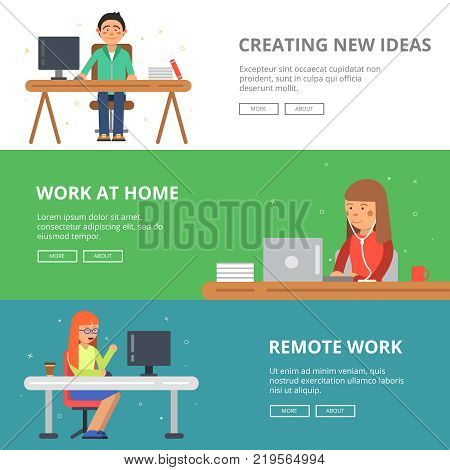 Horizontal banners with illustrations of freelancers at his workspace. Programmers and designers workplace job, freelance professional man vector