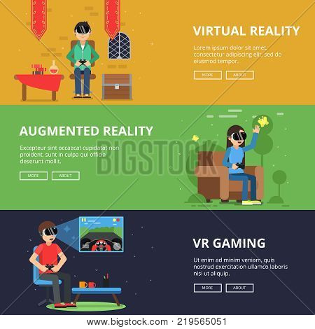 Horizontal banners of funny people which plays in vr helmet. Video games helmet, device technology for game in cyberspace illustration poster