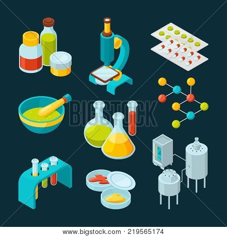 Isometric icons set of pharmaceutical industry and scientific theme. Chemistry isometric laboratory, scientific medicine elements. Vector illustration