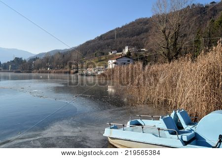 An entire lake completely frozen - Lake Endine - Bergamo - Lombardy - Italy 0010