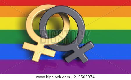 3D Illustration. Two female symbols on a rainbow flag (LGBT Movement) as a background