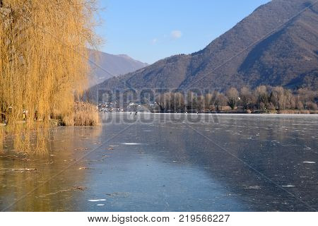 An entire lake completely frozen - Lake Endine - Bergamo - Lombardy - Italy 003