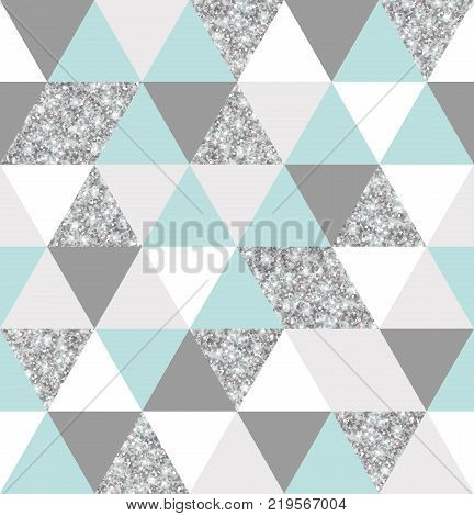 Abstract seamless geometric pattern. Vector illustration. Geometry silver, mint and white triangles grid texture. Chic silver and teal mosaic tiles