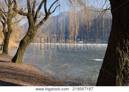 An entire lake completely frozen - Lake Endine - Bergamo - Lombardy - Italy