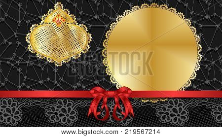 Black Friday sales background.Template gift voucher with a satin ribbon and lace.