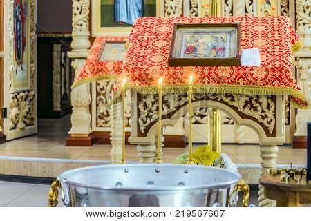 Belgorod Russia - May 20 2017: Holy water font for christening ceremony in Orthodox cathedral's hall in honor of con of Mother of God
