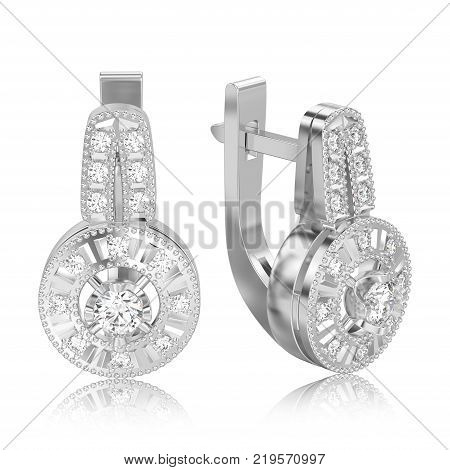 3D illustration isolated white gold or silver decorative diamond earrings with hinged lock with reflection on a white background