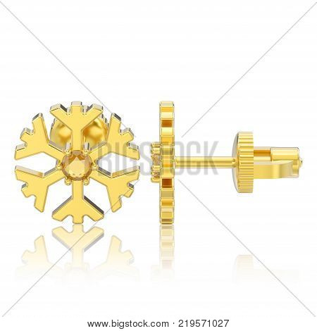3D illustration isolated yellow gold diamond snowflake stud earrings with reflection on a white background