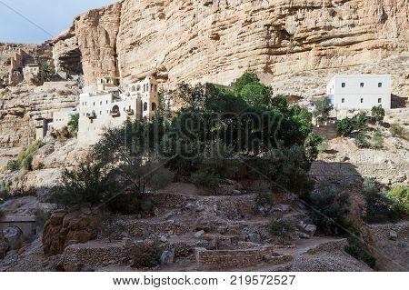 Near Mitzpe Yeriho Israel November 25 2017 : The monastery of St. George Hosevit (Mar Jaris) in Wadi Kelt near Mitzpe Yeriho in Israel