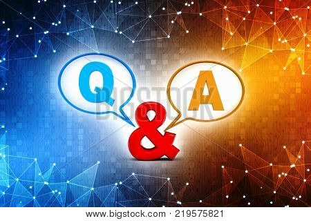 Question & Answer Bubble Chat, q and a concept 3d illustration