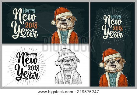 Dog Santa claus in hat, coat, sweater. Happy New Year 2018 calligraphy lettering. Vintage black and color engraving illustration for poster. Isolated on white background