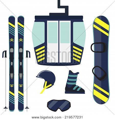 Skiing Equipment, Set. Skis, Ski Poles, Helmet, Glasses, Boots, Jacket. Winter Equipment Icons. Vect
