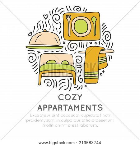 Cozy appartments hand draw cartoon vector icon concept. Bed, towel and food attributes about hotel and resorts in circle form with decorative elements. Hotel and resort icon collection. Set of cozy appartment icon isolated on white background